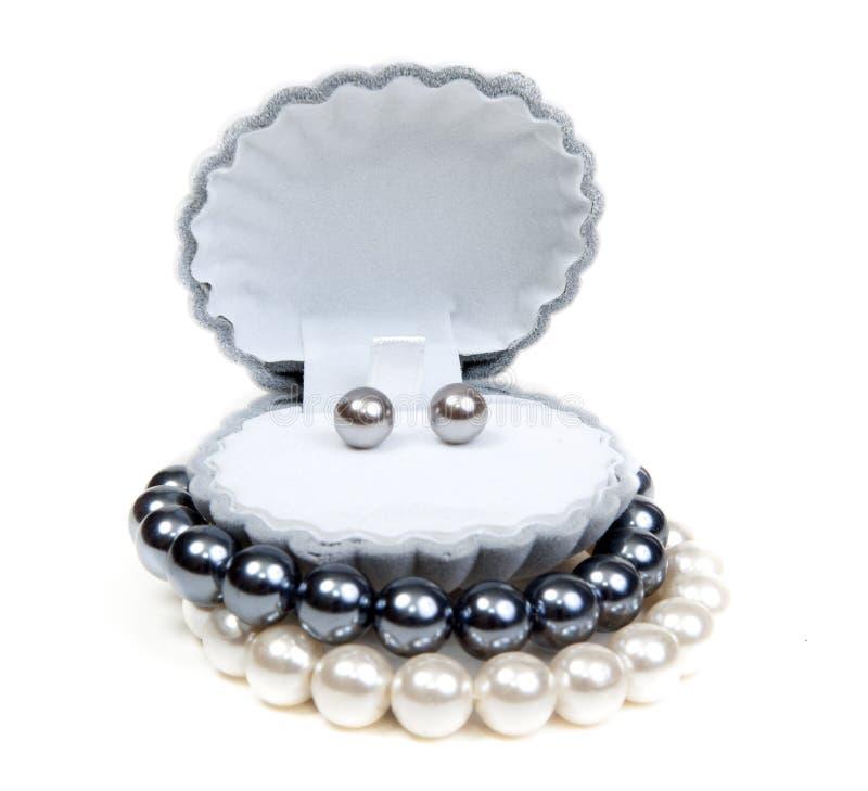 Oorringen in kleine doos en halsband royalty-vrije stock afbeelding