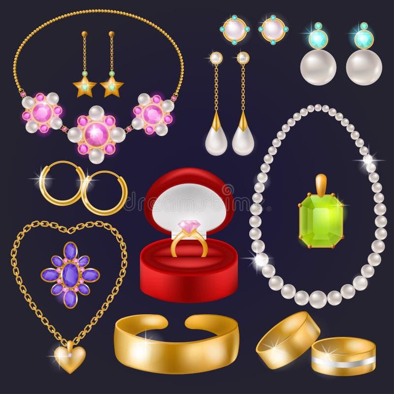 Oorringen van de de armbandhalsband van juwelen plaatsen de vectorjuwelen gouden en de zilveren ringen met diamanten illustratie  royalty-vrije illustratie