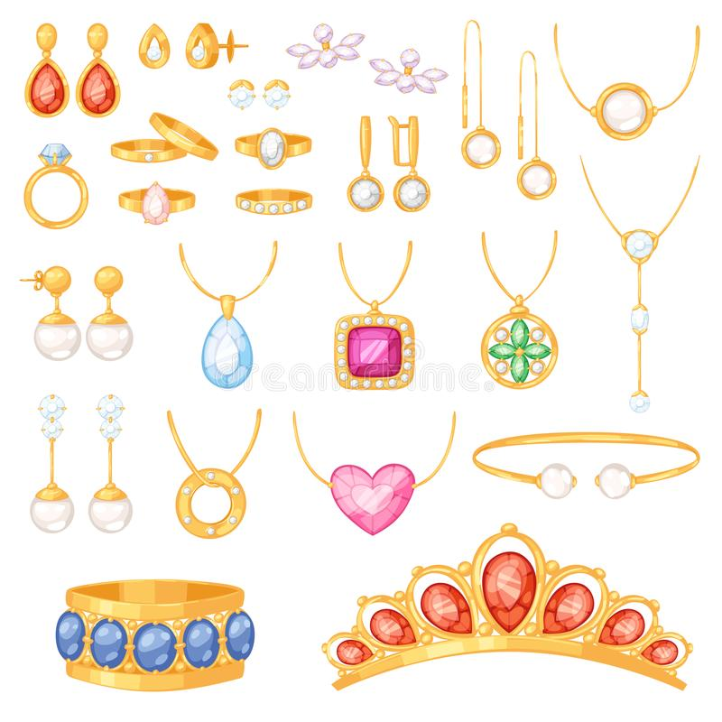 Oorringen van de de armbandhalsband van juwelen de vectorjuwelen gouden en zilveren ringen met geplaatste de toebehoren van het d royalty-vrije illustratie