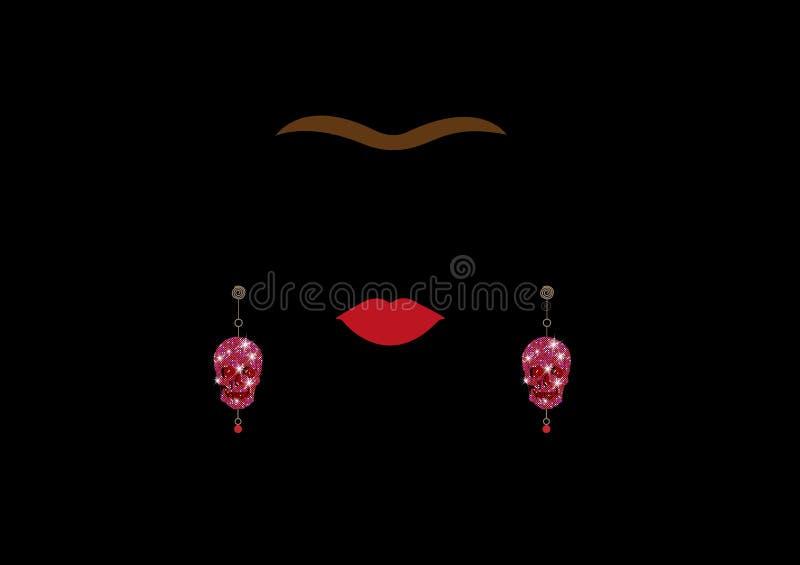 Oorringen van de Glittery de roze gouden schedel, Vrouwenoorringen, heldere glanzende roze diamanten Mexicaanse ambachten, vrouwe vector illustratie