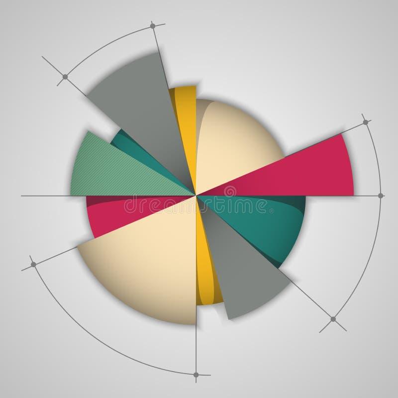 Oorspronkelijk vectorkleurencirkeldiagram vector illustratie