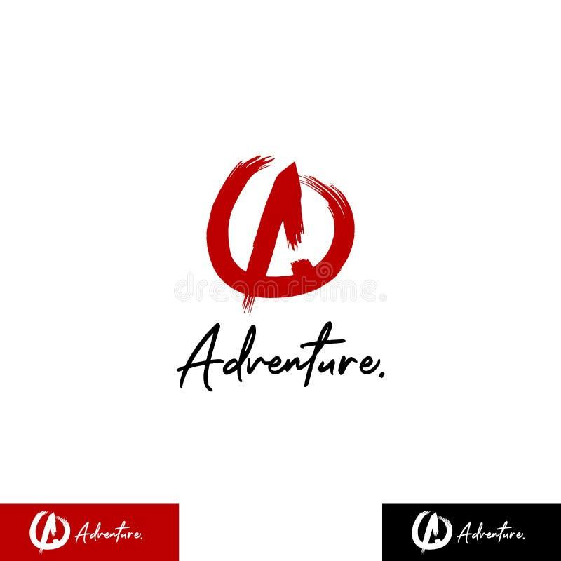 Oorspronkelijke letter A-logo met cirkel in de stijl van rode penseelstreek, moedig, gevaarlijk, avontuur, buitenshuis, extreem l stock illustratie