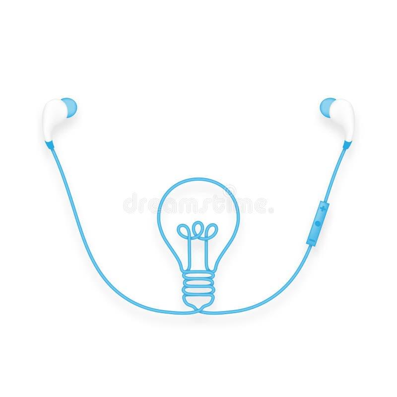 Oortelefoons draadloos en ver, in Oortype blauw kleur en Licht royalty-vrije illustratie
