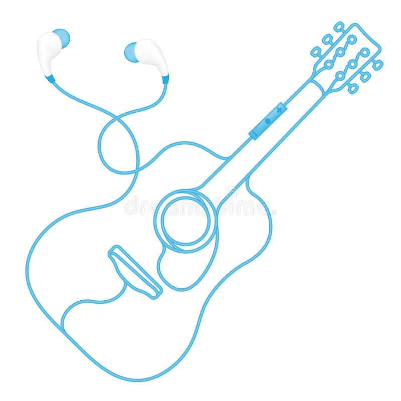 Oortelefoons draadloos en ver, in Oortype blauwe kleur en akoestische die gitaarvorm van kabel wordt gemaakt royalty-vrije illustratie