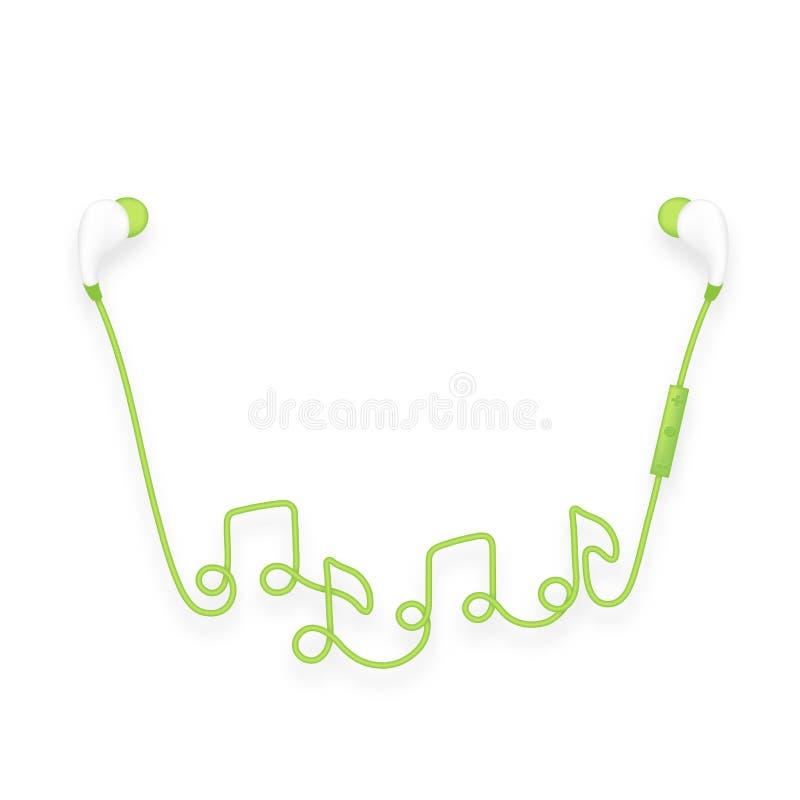 Oortelefoons draadloos en ver, in Oortype groen die kleur en muzieknotasymbool van kabel wordt gemaakt op witte achtergrond, word vector illustratie