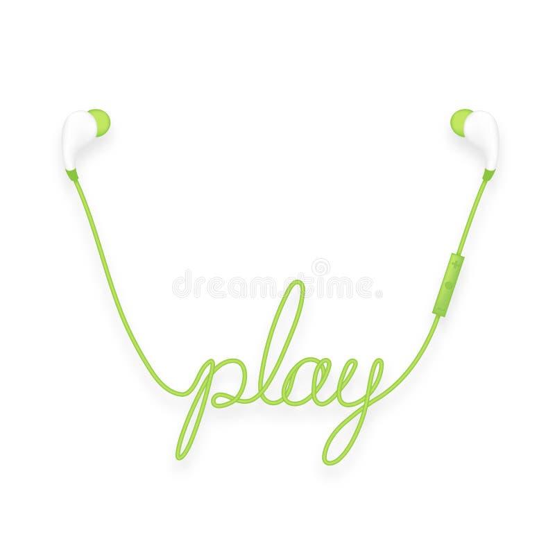 Oortelefoons draadloos en ver, in Oortype groene die kleur en spelteksten van kabel worden gemaakt stock illustratie