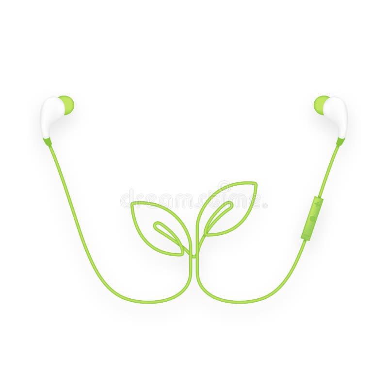 Oortelefoons draadloos en ver, in Oortype groene kleur en Blad stock illustratie