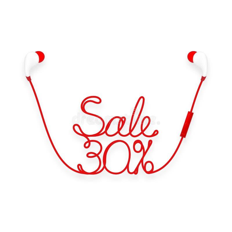 Oortelefoons draadloos en ver, in Oortype rode kleur en Verkoop 30 die percententekst van kabel wordt gemaakt royalty-vrije illustratie