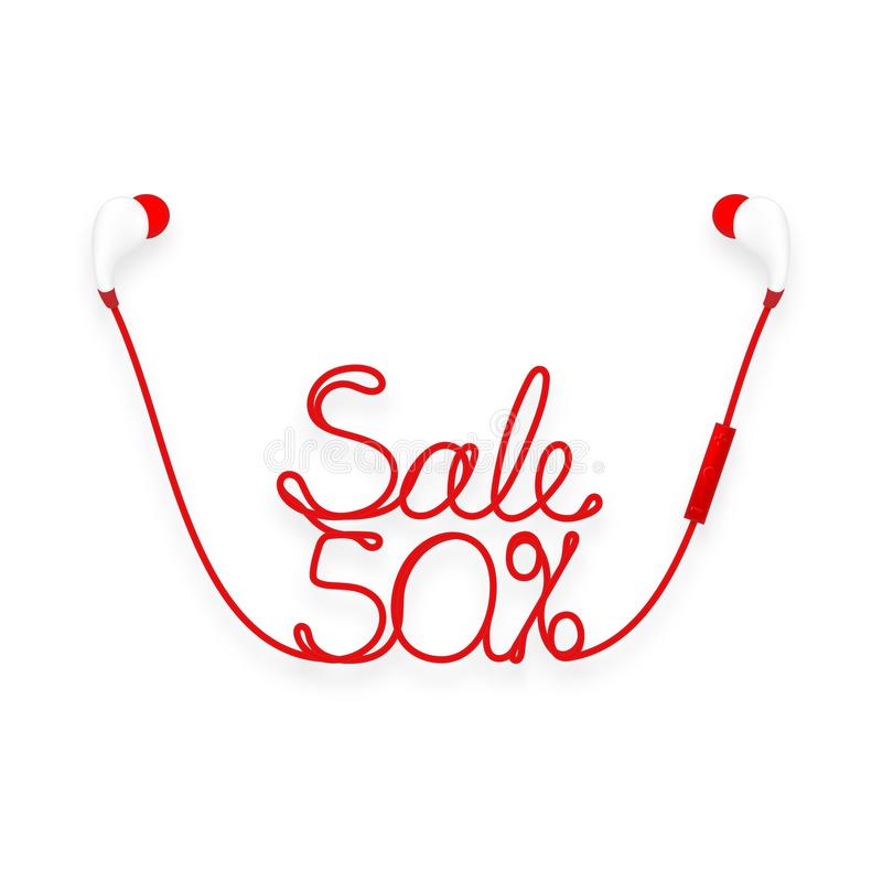 Oortelefoons draadloos en ver, in Oortype rode kleur en Verkoop 50 die percententekst van kabel wordt gemaakt vector illustratie