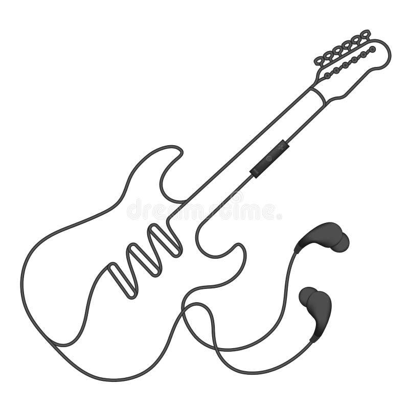 Oortelefoons draadloos en ver, in Oortype zwarte kleur en elektrische die gitaarvorm van kabel wordt gemaakt vector illustratie
