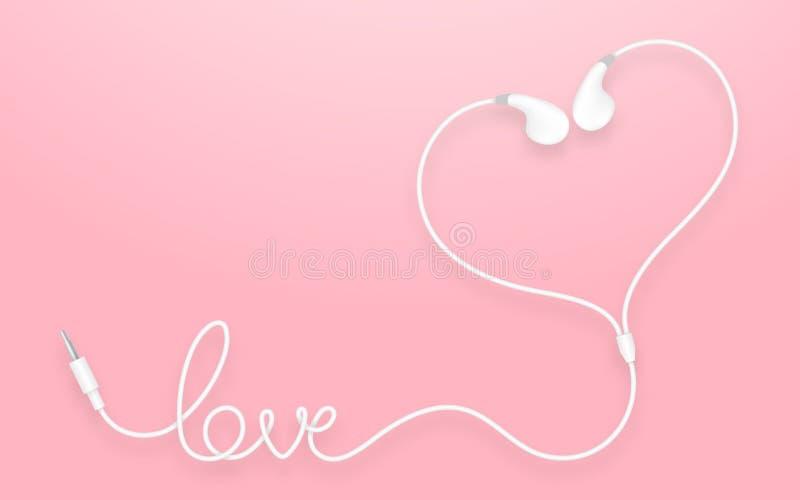 Oortelefoons, Earbud-type witte die kleur en liefdetekst van kabel worden gemaakt stock illustratie