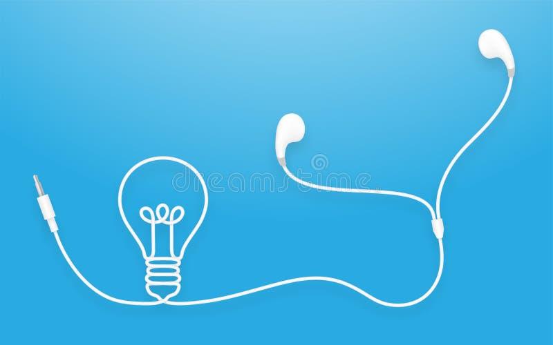 Oortelefoons, Earbud-type witte kleur en Gloeilampensymbool stock illustratie