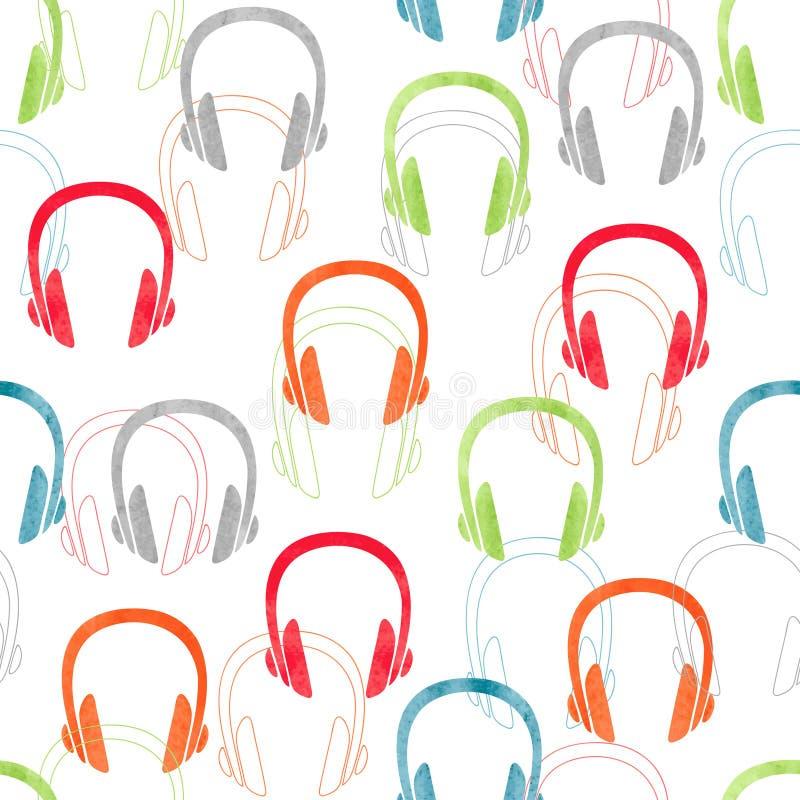 Oortelefoons naadloos patroon Vector muziekachtergrond stock illustratie
