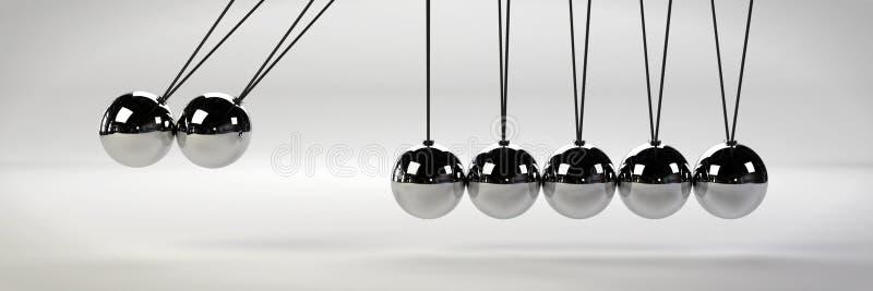 Download Oorzaak - En - Effect Concept, De Wieg Van Metaalnewton ` S Met Twee Ballen In Motie Op Een Witte Achtergrond 3d Illustratiebanne Stock Illustratie - Illustratie bestaande uit motie, oorzaak: 107703633