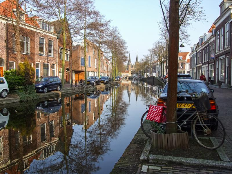Ooseinde street and channel in Delft in Netherlands. stock photos