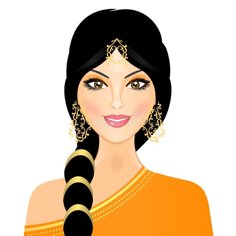 Oostelijk meisje in sinaasappel vector illustratie