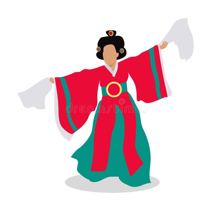 Oostelijke Danser Isolated Volksdansconcept Vector vector illustratie