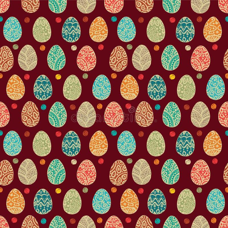Oostelijke eieren Vector illustratie Vector naadloos patroon met kleurrijke eieren op BRUINE achtergrond vector illustratie