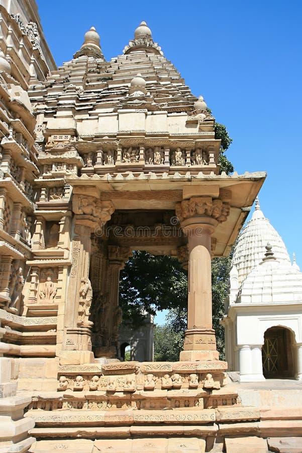Oostelijke groep Tempels in Khajuraho stock foto's