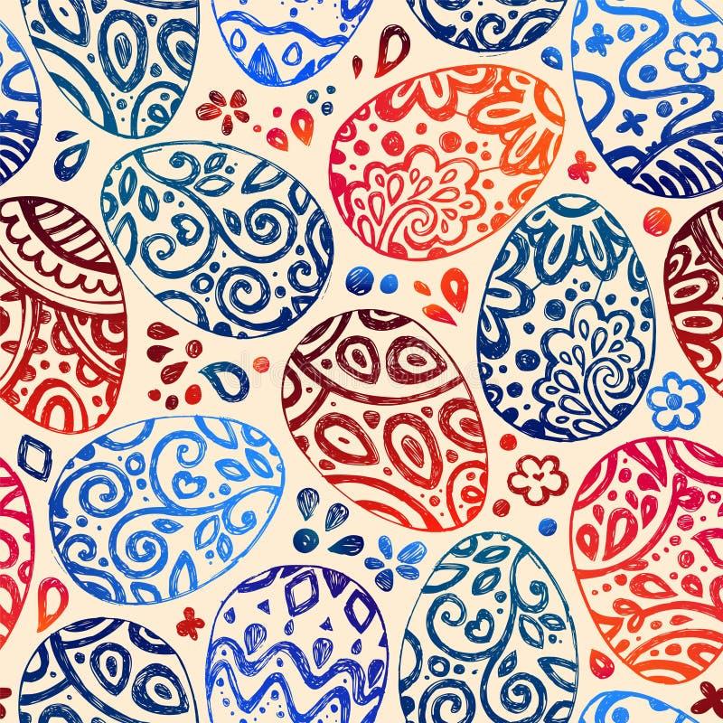 Oostelijke schetseieren Vector illustratie Vector naadloos patroon met kleurrijke eieren op BRUINE achtergrond royalty-vrije illustratie