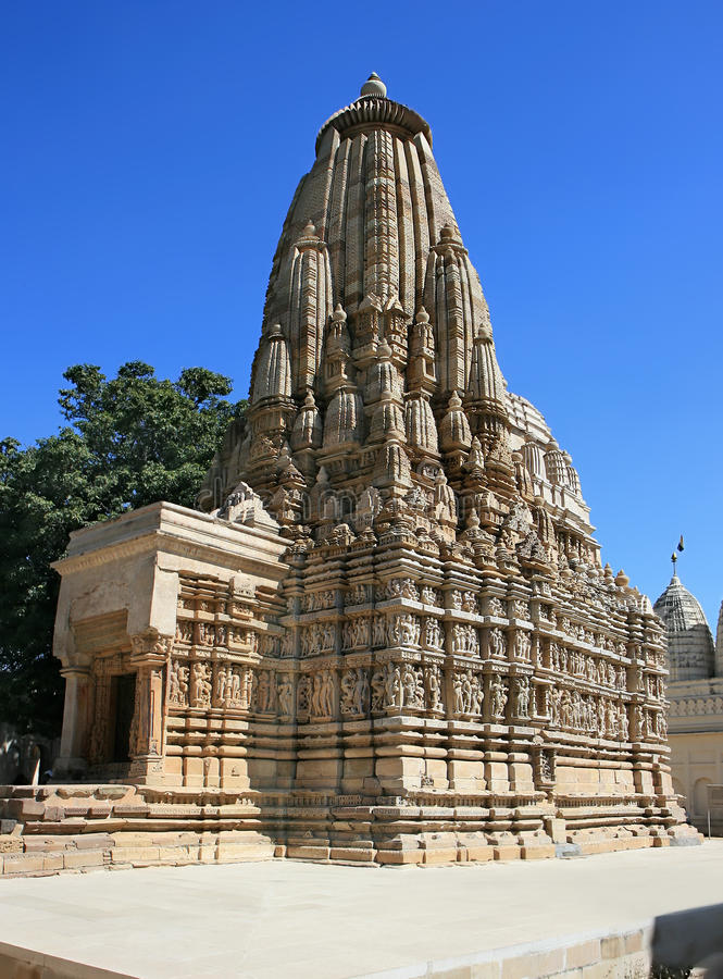 Oostelijke Tempels in Khajuraho, India stock foto