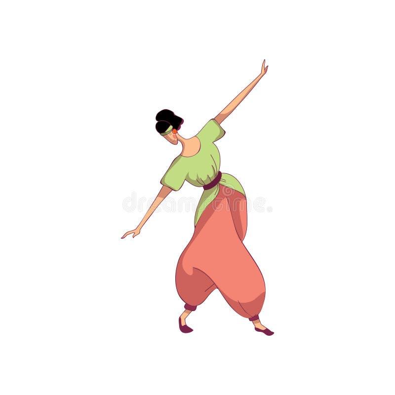 Oostelijke volksdans Professionele danser op witte achtergrond royalty-vrije illustratie