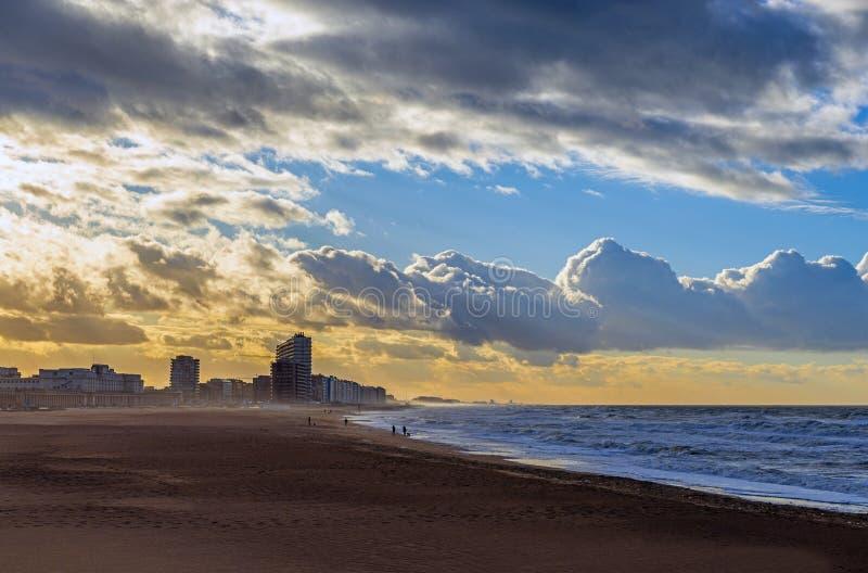 Oostende海滩北海,比利时 免版税库存照片