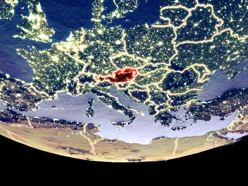 Oostenrijk bij nacht van ruimte royalty-vrije illustratie