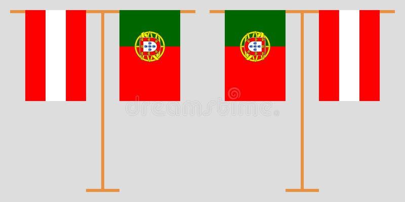 Oostenrijk en Portugal De Oostenrijkse en Portugese verticale vlaggen Offici?le kleuren Correct aandeel Vector stock fotografie