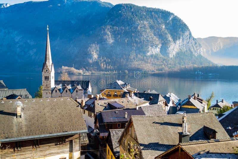 Oostenrijk, Hallstatt op de kust van het Bergmeer De rotsachtige bomen van de bergenpijnboom stock fotografie