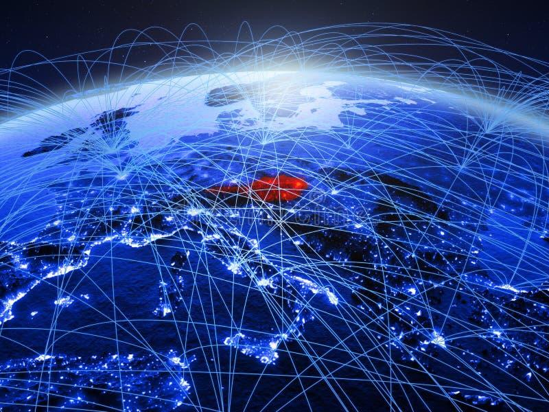 Oostenrijk op blauwe digitale aarde met internationaal netwerk die mededeling, reis en verbindingen vertegenwoordigen 3d stock afbeeldingen
