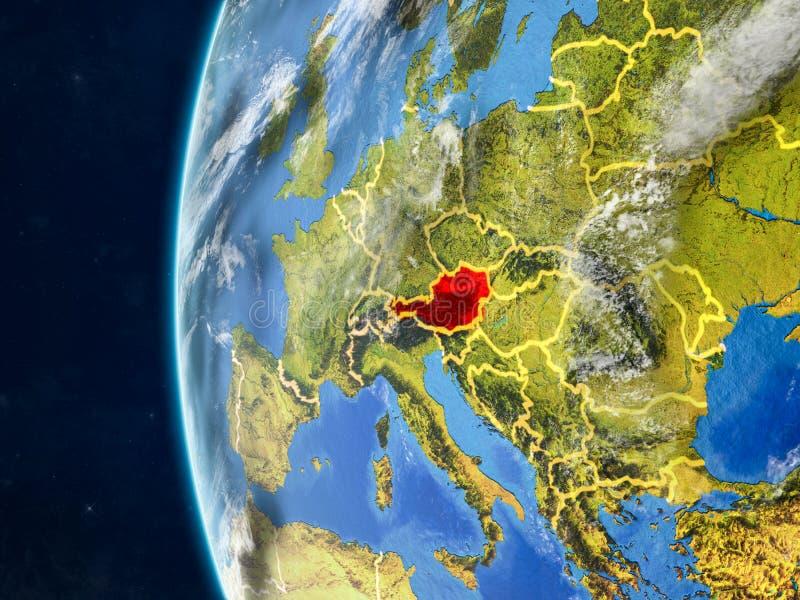 Oostenrijk op bol van ruimte vector illustratie