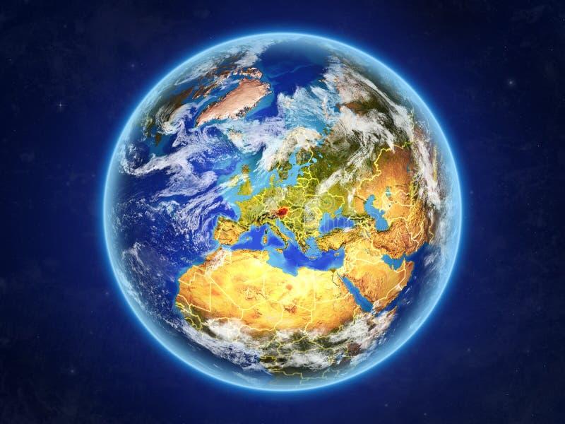 Oostenrijk ter wereld van ruimte stock illustratie