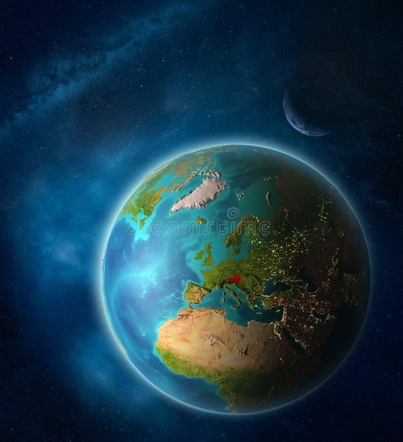 Oostenrijk ter wereld van ruimte vector illustratie