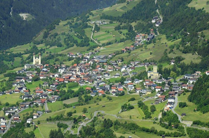 Oostenrijk, Tirol, Fliess-Dorp stock fotografie