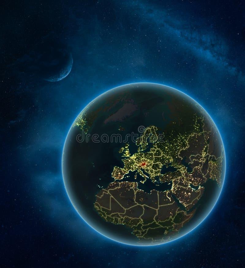 Oostenrijk van ruimte bij nacht vector illustratie