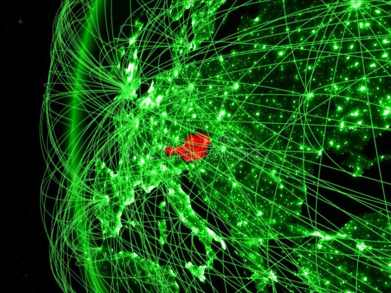 Oostenrijk van ruimte op groen model van Aarde met internationale netwerken Concept groene mededeling of reis 3D Illustratie royalty-vrije stock afbeelding