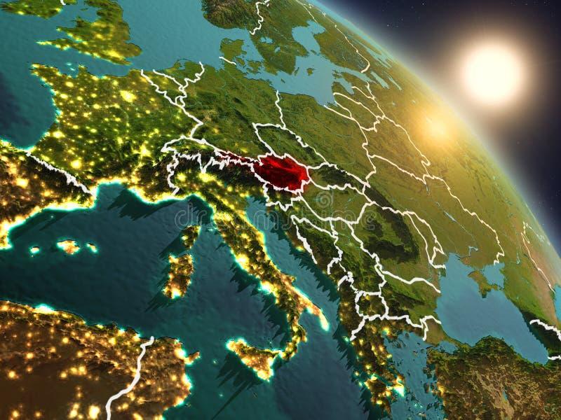 Oostenrijk van ruimte tijdens zonsopgang stock illustratie