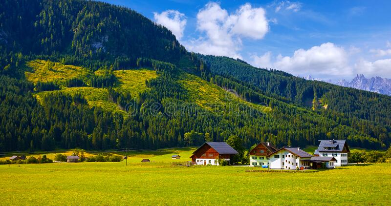 Oostenrijks dorp tussen weilanden en Alpen stock foto