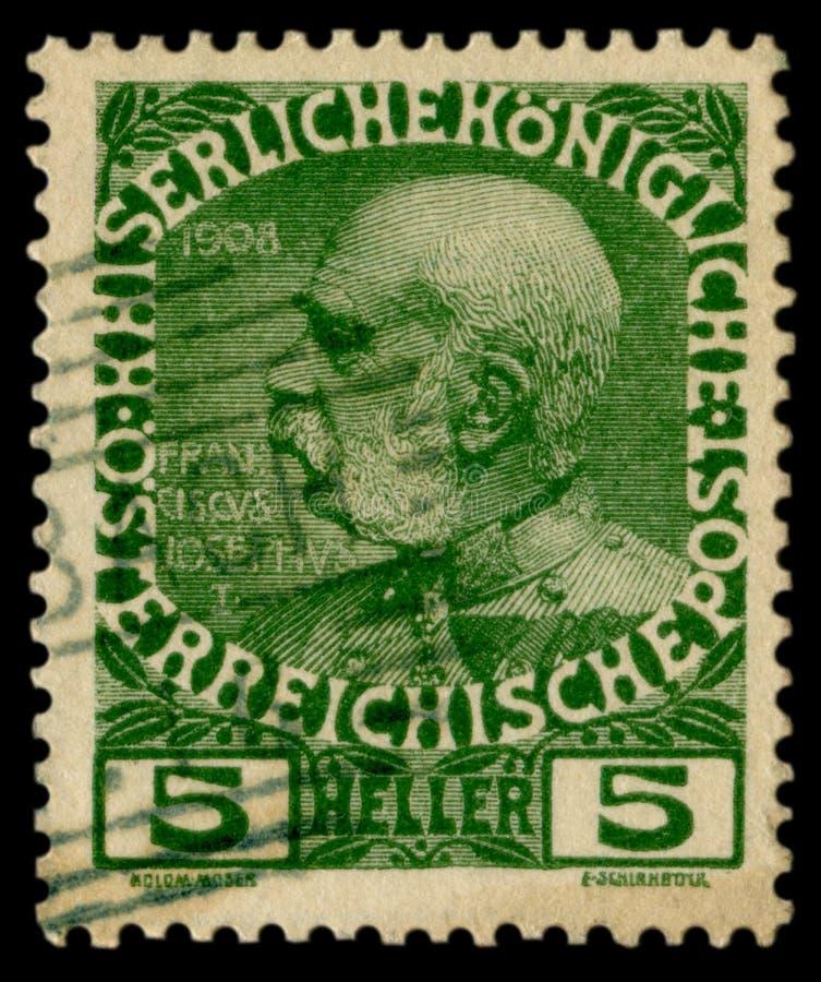 Oostenrijkse historische zegel: portret van Keizer Franz Joseph I, 5 heller, 1908, speciale annulering, Oostenrijk, Austro Hongaa royalty-vrije stock foto's