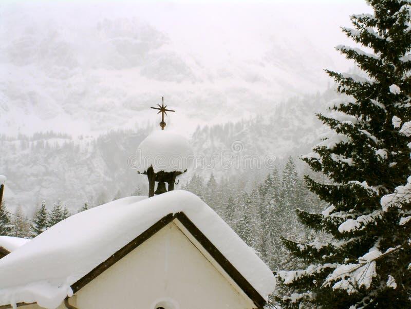 Oostenrijkse Kapel in sneeuw royalty-vrije stock foto