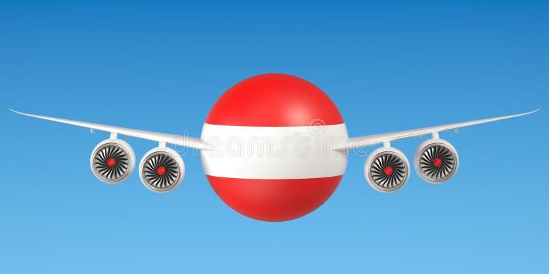 Oostenrijkse luchtvaartlijnen en flying& x27; s concept het 3d teruggeven vector illustratie