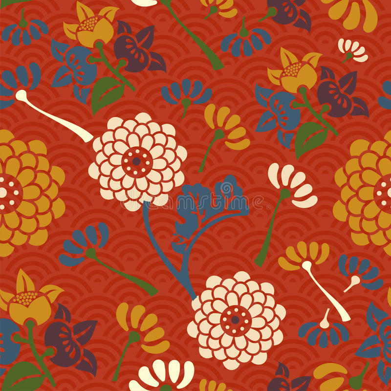 Oosters bloemen naadloos patroon