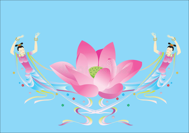 Oosters Dansers en Lotus royalty-vrije stock afbeelding
