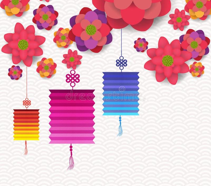 Oosters Gelukkig Chinees Nieuwjaar het Bloeien Bloemenontwerp stock illustratie