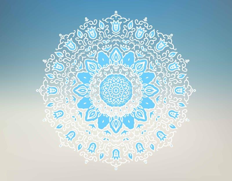 Oosters mandalamotief om kantpatroon op de gradiënt een achtergrond vector illustratie