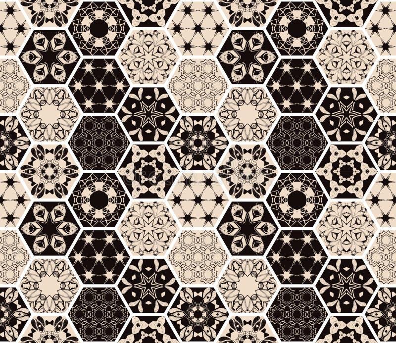 Oosters naadloos lapwerkpatroon Hexagonale keramische tegel Boho shic stijl royalty-vrije illustratie