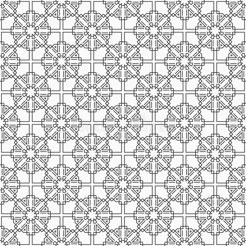 Oosters Naadloos Patroon lineaire stijl Islamitische stijl Geometrisch roosterornament Vector zwart-wit achtergrond stock illustratie