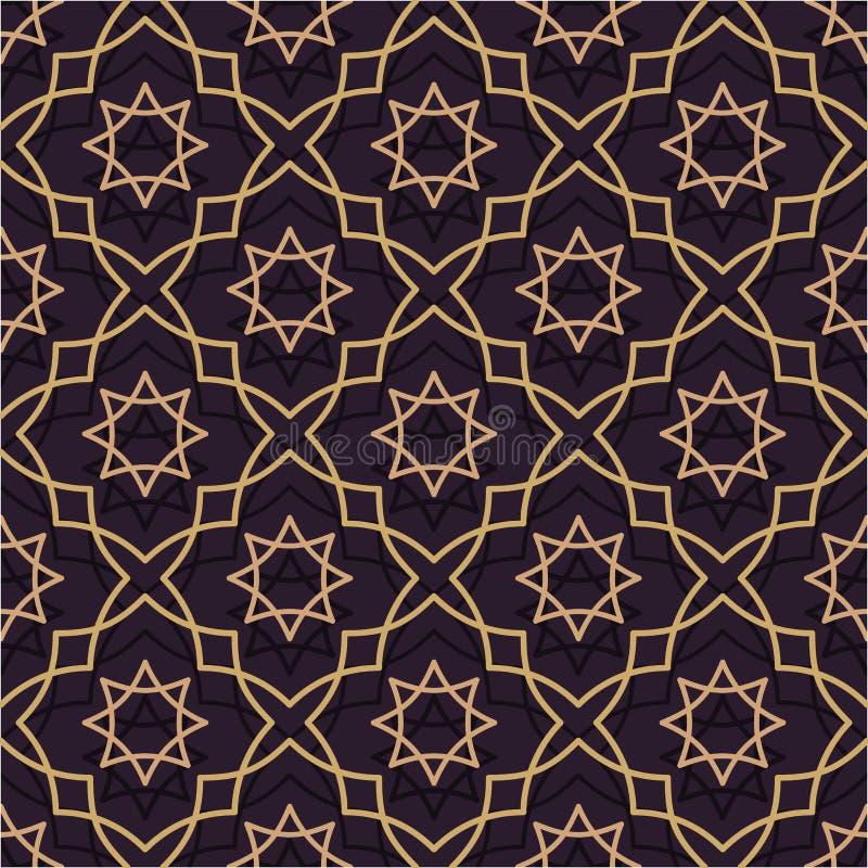 Oosters naadloos patroon van purper en gouden Dunne Gouden Lijn in de Islamitische stijl van ornament vector illustratie