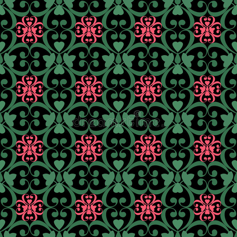 Oosters naadloos patroondamast arabesque en bloemenelementen t vector illustratie